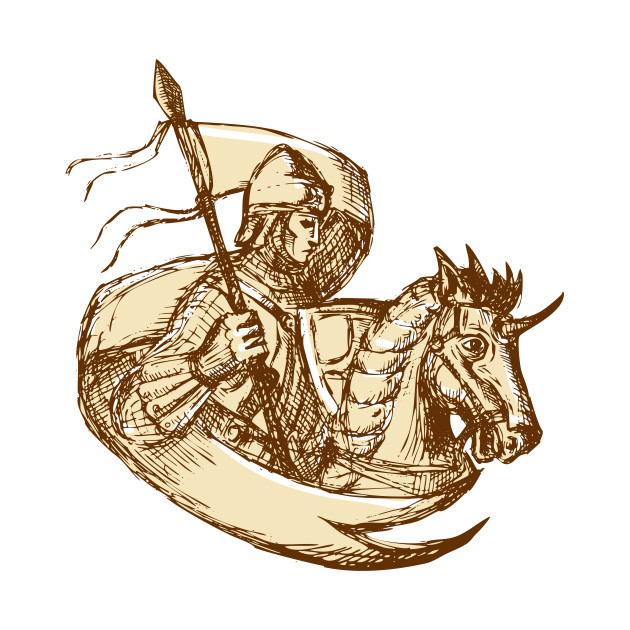 630x630 Knight On Horse Holding Flag Drawing
