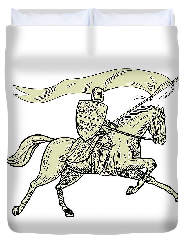 645x853 Knight Riding Horse Shield Lance Flag Drawing Duvet Cover For Sale