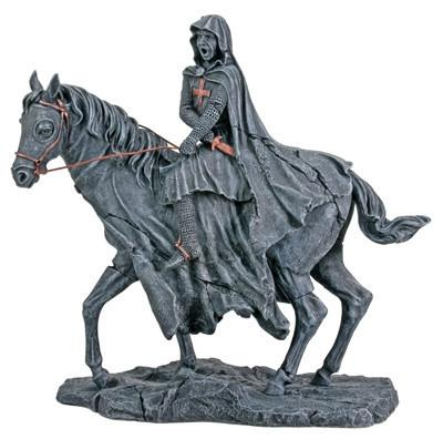400x396 Templar Knight Drawing Sword On Horse Statue, The Crusades
