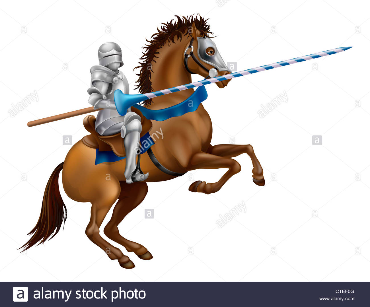1300x1079 Drawing Of A Jousting Knight In Armour On Horse Back Stock Photo