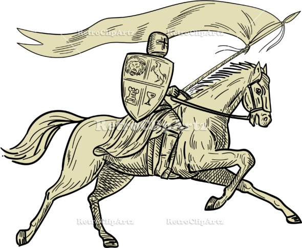 590x483 Knight Riding Horse Shield Lance Flag Drawing Vector Stock