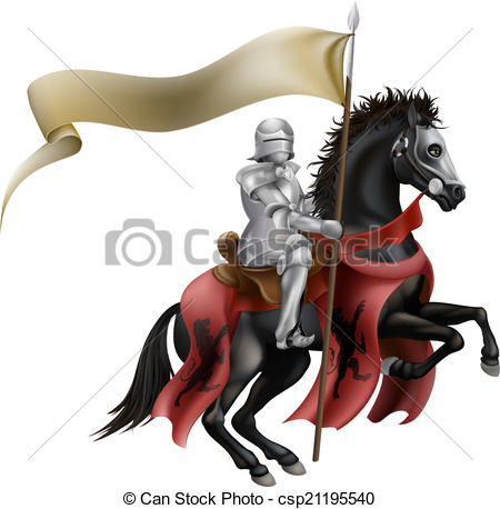 450x458 Knight On Horse With Flag. An Illutration Of A Knight Eps