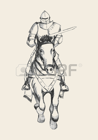 318x450 Sketch Illustration Of Medieval Knight On Horse Carrying