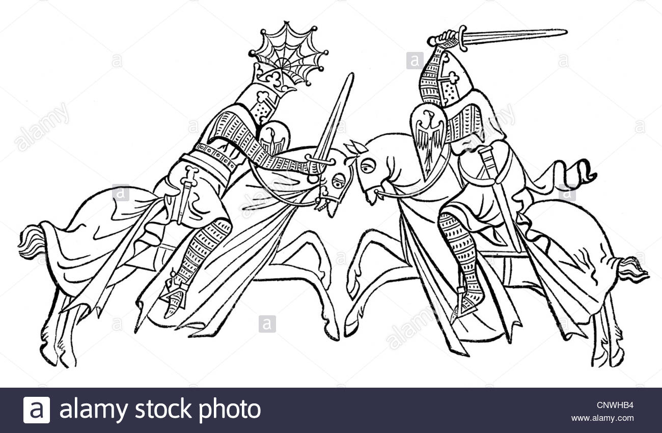 1300x850 Middle Ages, Knights, Tournament, Drawing, Miniature After Hewitt