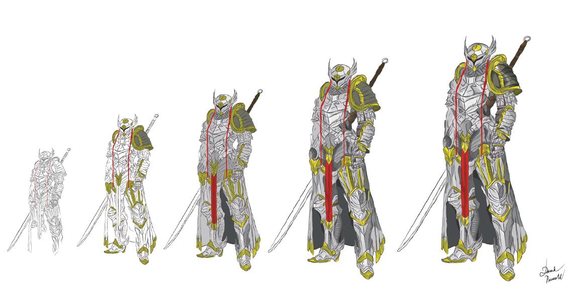 1134x596 Progress Of Drawing Knight + Knight