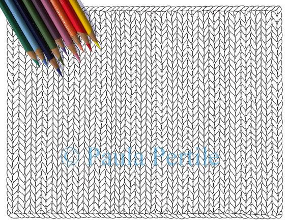 570x440 Blank Knit Horizontal Coloring Page Printable Knitting