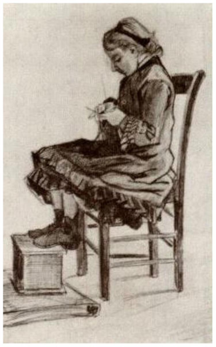 750x1205 Girl Sitting, Knitting By Vincent Van Gogh