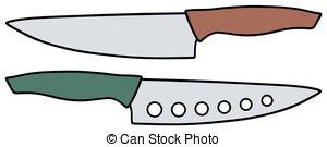 300x135 Three Kitchen Knives. Hand Drawing Of Three Green Kitchen