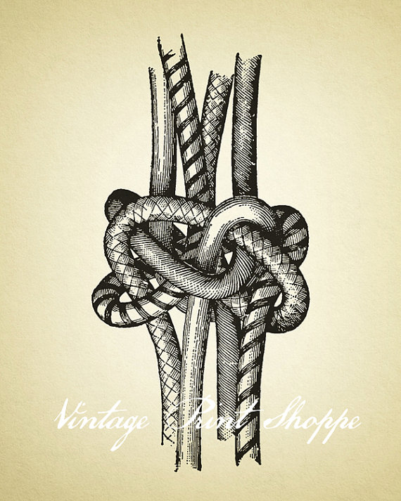 570x713 Tie The Knot Print Vintage Rope Knot Art Illustration