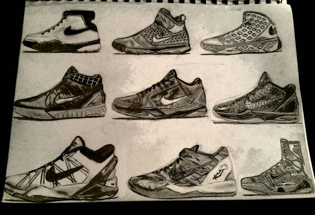 1024x699 Kobe 1 9 Shoe Collection Drawing By Bigken20