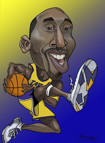 367x500 Character Drawings Of Famous People Cartoon Kobe Bryant (Medium