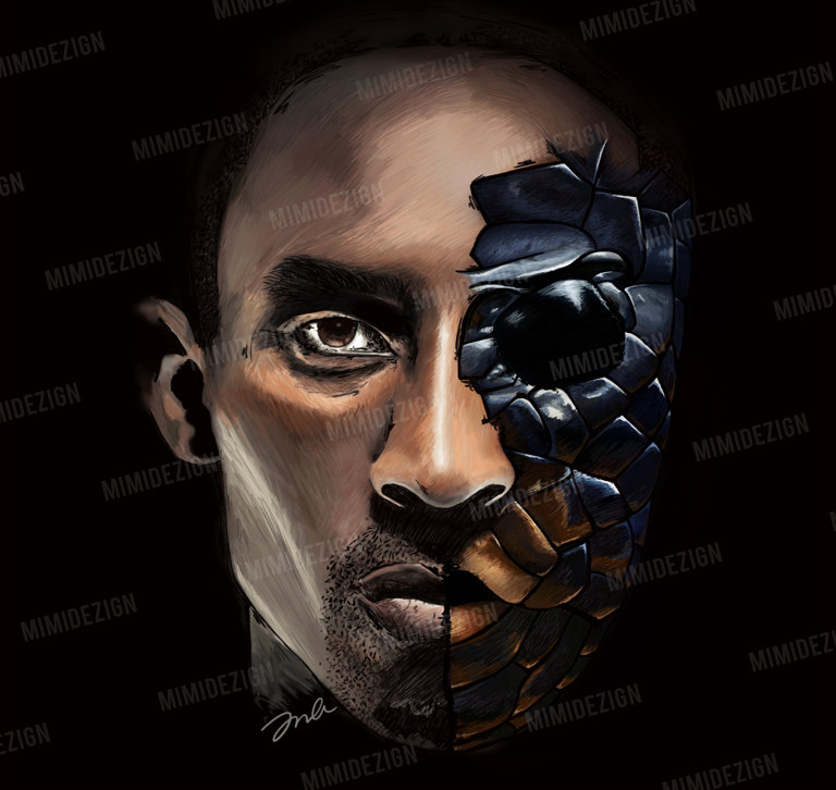 768x726 La Lakers Art Kobe Bryant Art Half Kobe Half Mamba Drawing