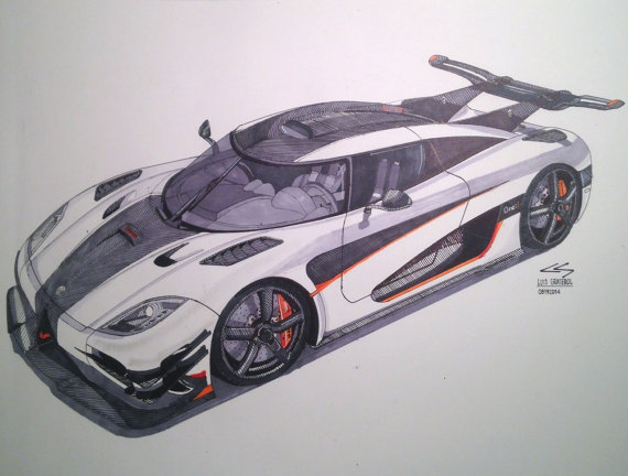 570x432 Items Similar To Koenigsegg One1 Drawing On Etsy