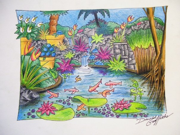 604x453 Koi Pond Drawing Create The Effect!