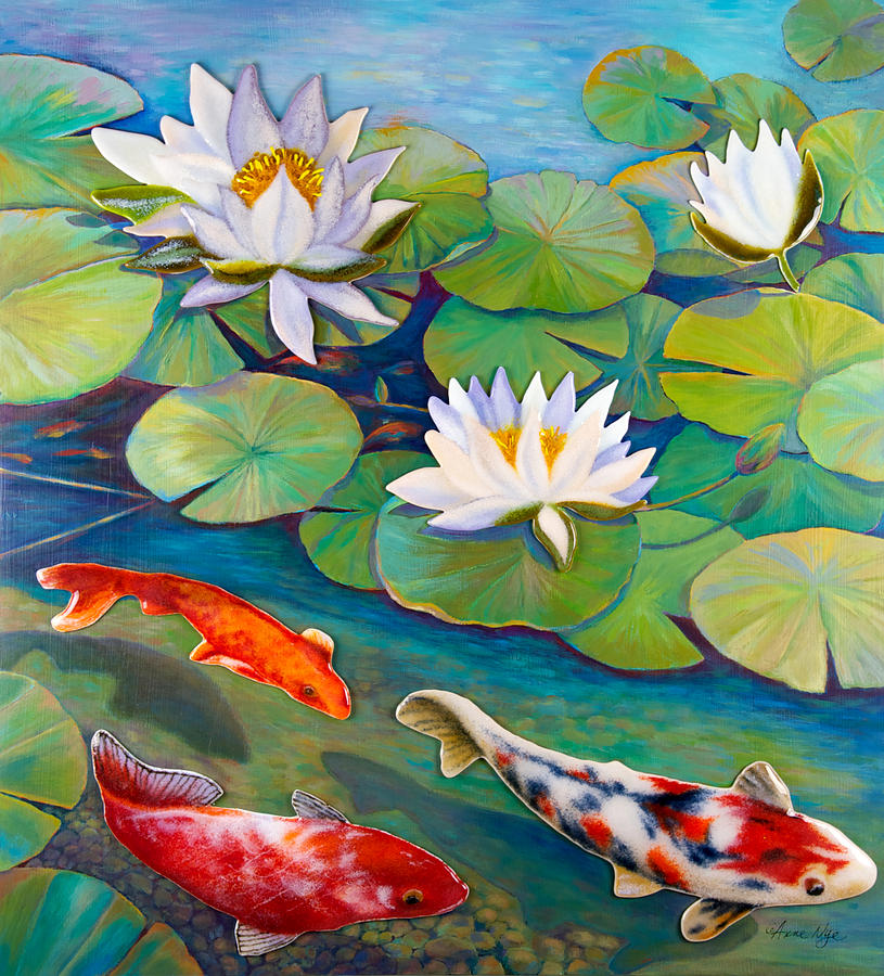 815x900 Koi Pond Painting By Anne Nye