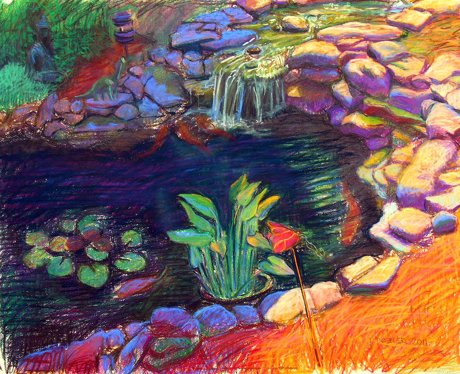 900x733 Koi Pond Painting By David Dozier