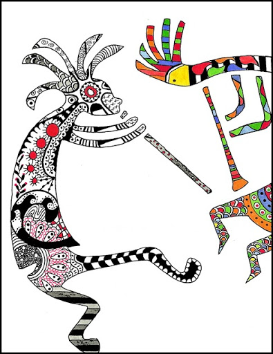 395x512 Draw Doodle And Decorate Kokopelli Dancers