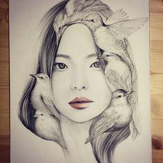 236x236 The Girl And The Birds Drawings Korean Artist, Drawings And Mandalas