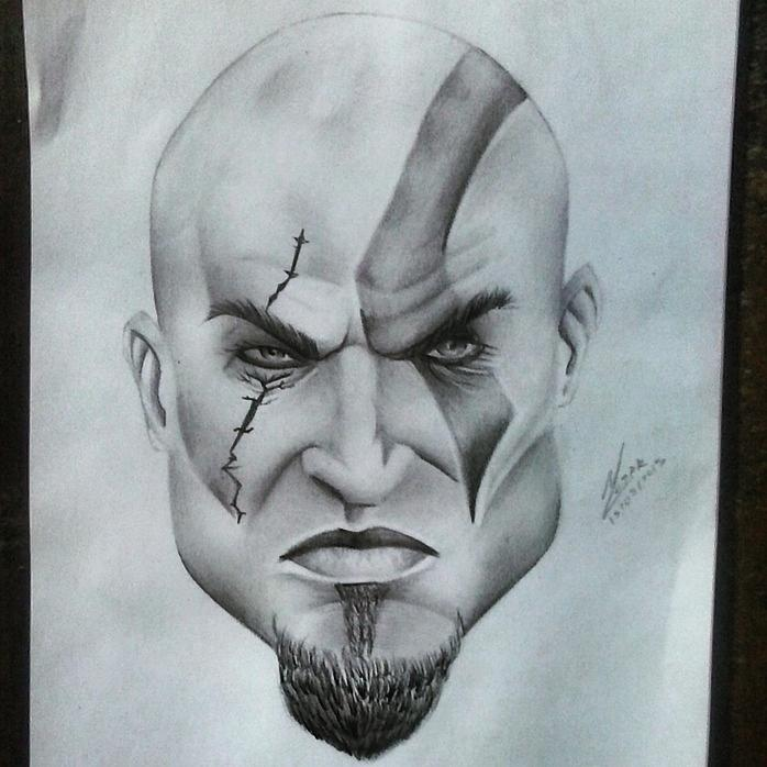 698x698 Kratos Drawing By Wellerson Cesar
