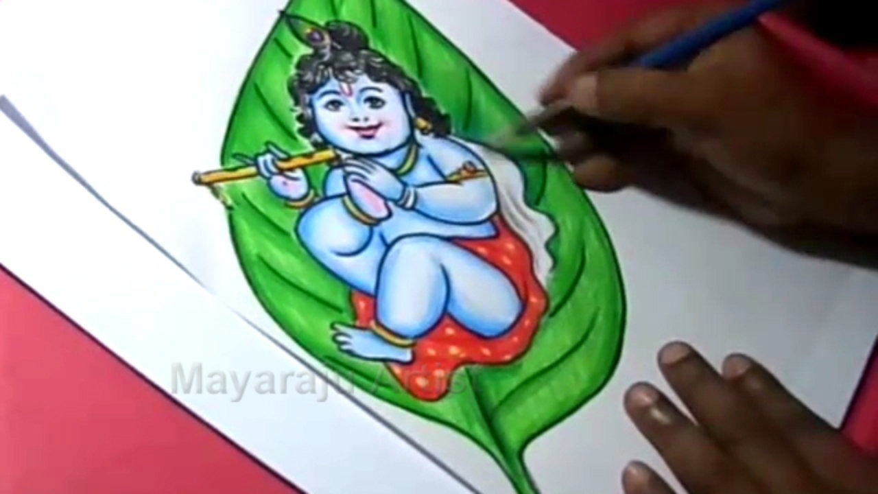 1280x720 How To Draw Leaf Little Krishna Drawing For Kids Step By Step