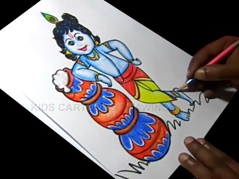 480x360 How To Draw Lord Little Krishna Drawing Baby Krishna Painting