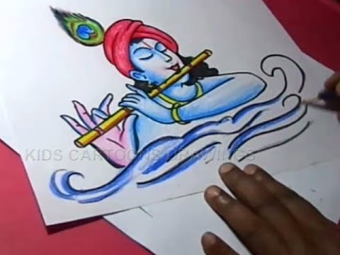 480x360 How To Lord Flute Krishna Drawing For Kids Step By Step
