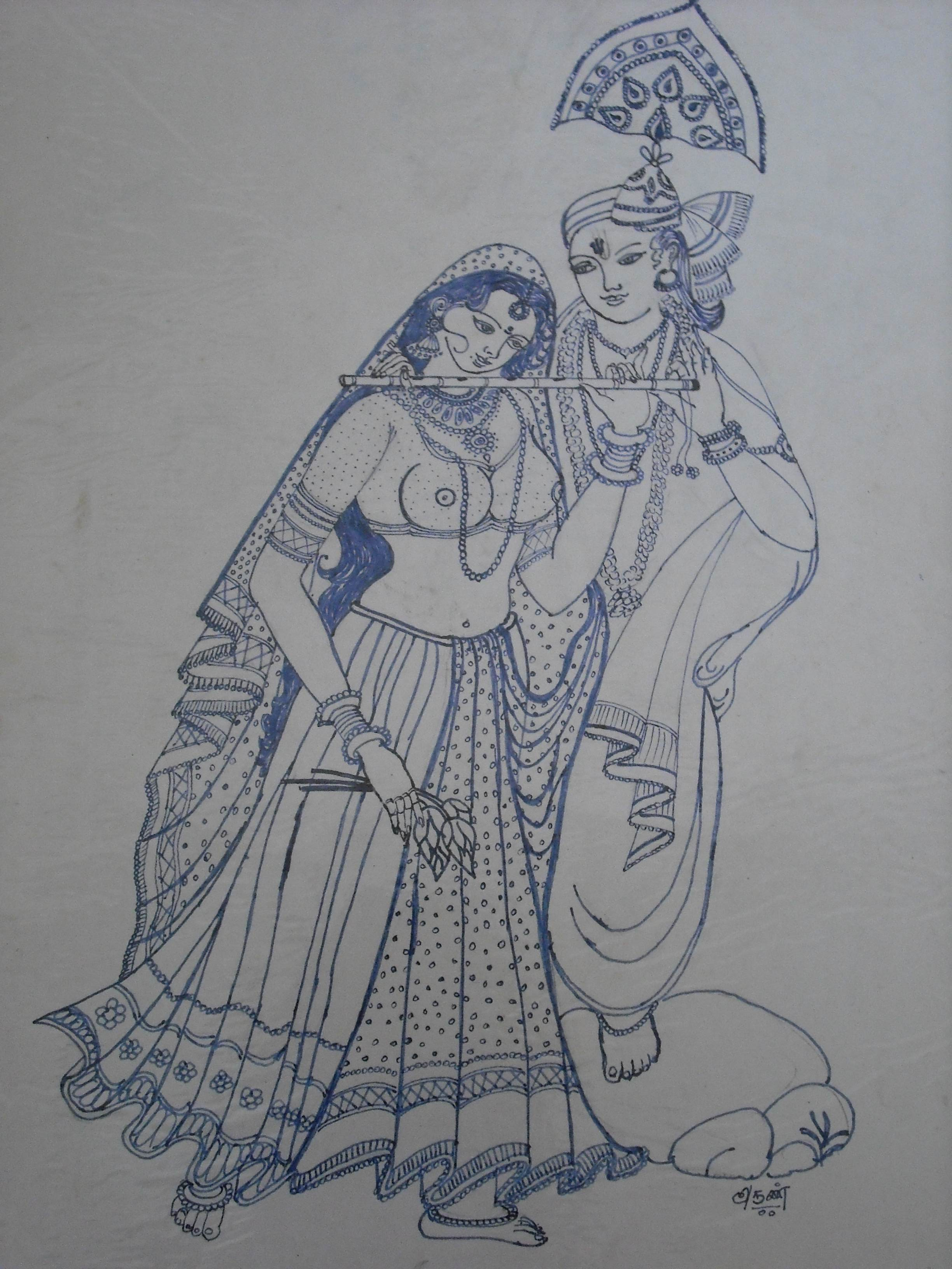 2448x3264 Lord Radha Krishna My Drawing With Ink Pen.