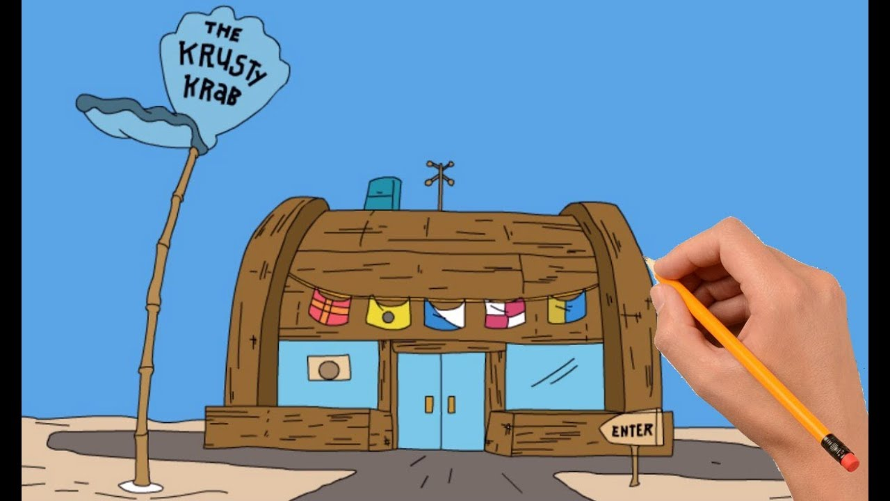 1280x720 How To Draw The Krusty Krab Step By Step Easy