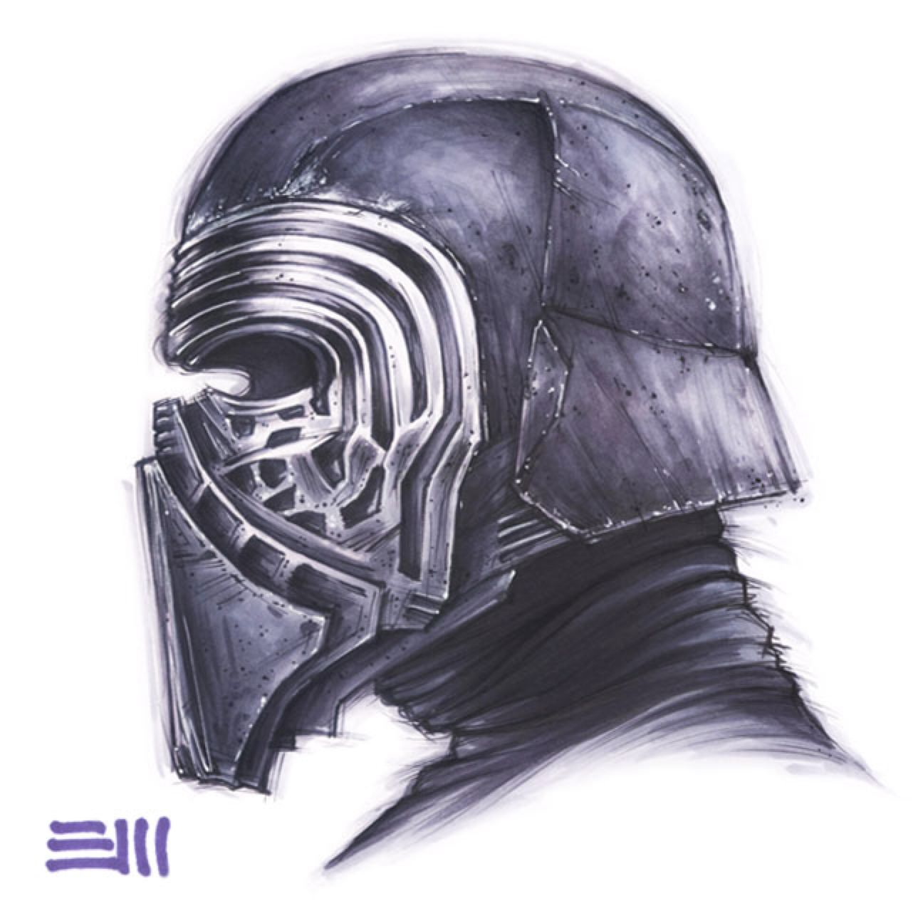 1296x1296 Kylo Ren Portrait Study By Erik Maell On @ Star Wars