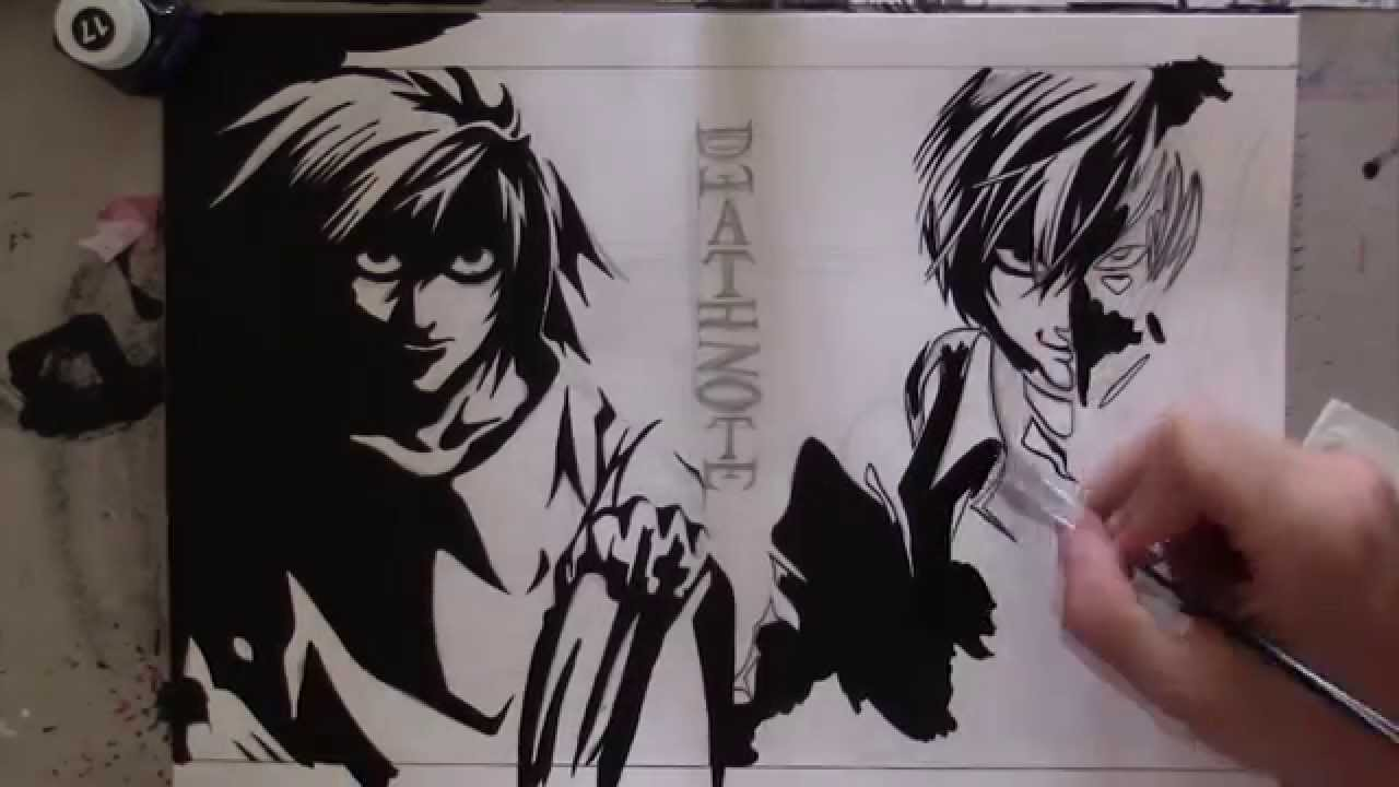 1280x720 Speed Drawing L And Kira Death Note
