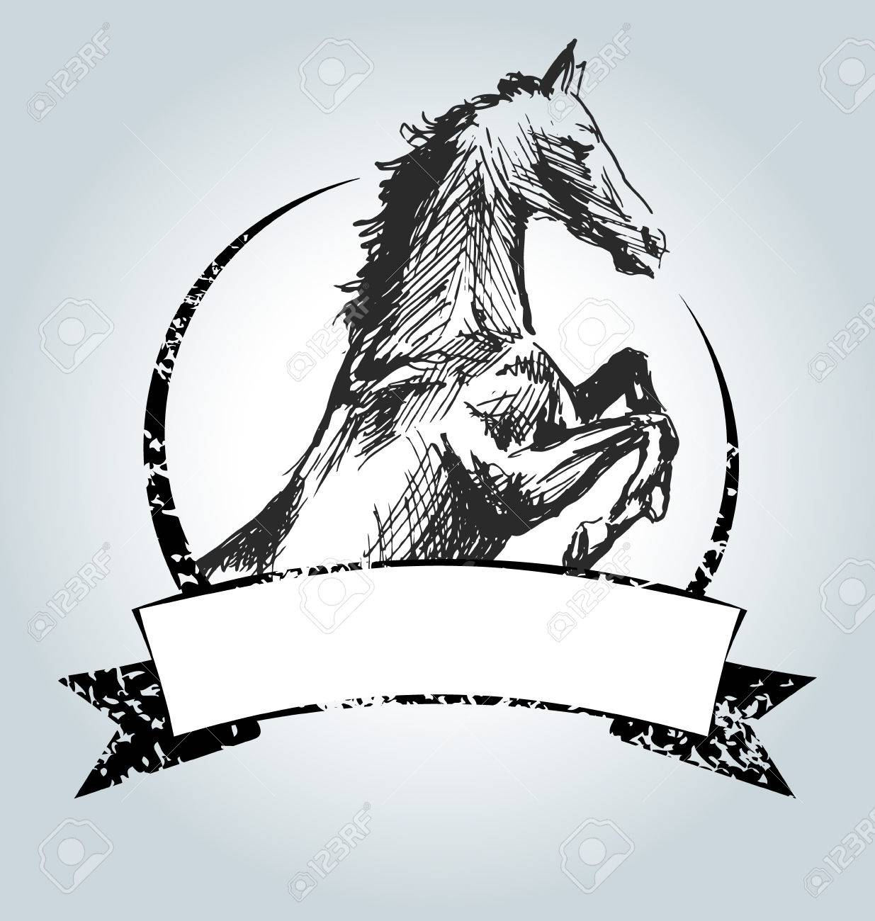 1235x1300 Vector Vintage Label With Drawing Horse Royalty Free Cliparts