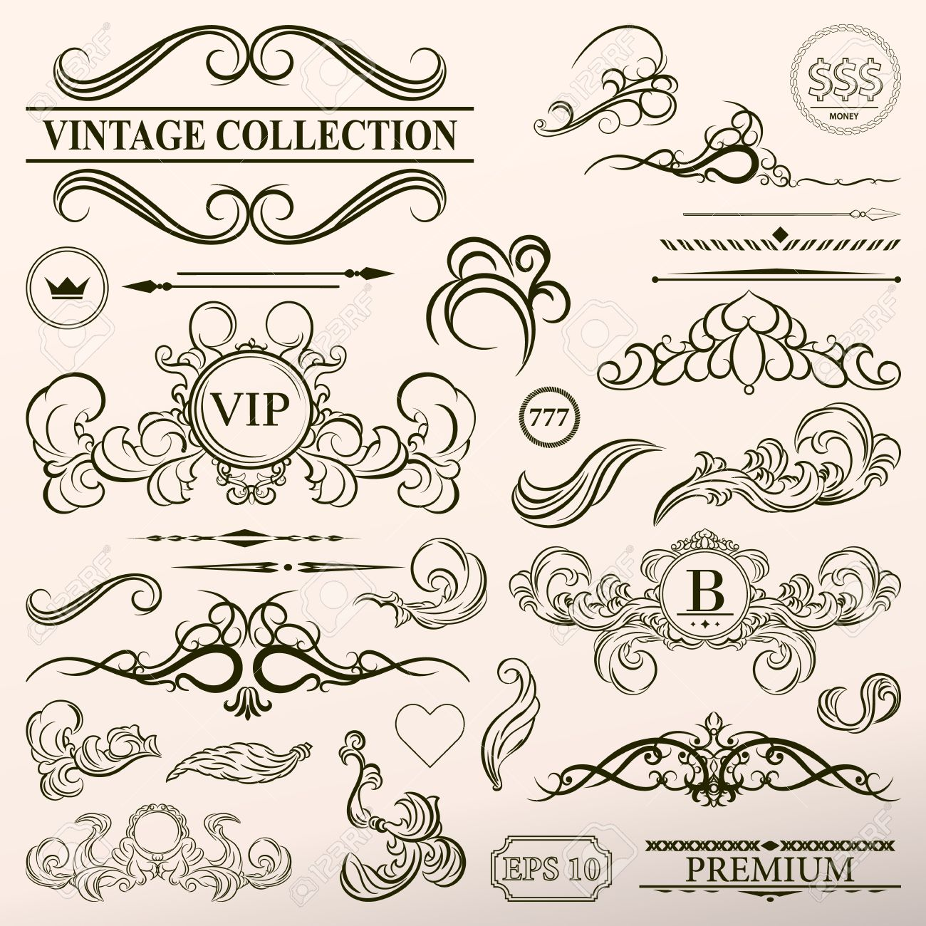 1300x1300 Vintage Set Decor Elements. Elegance Old Hand Drawing Set. Outline