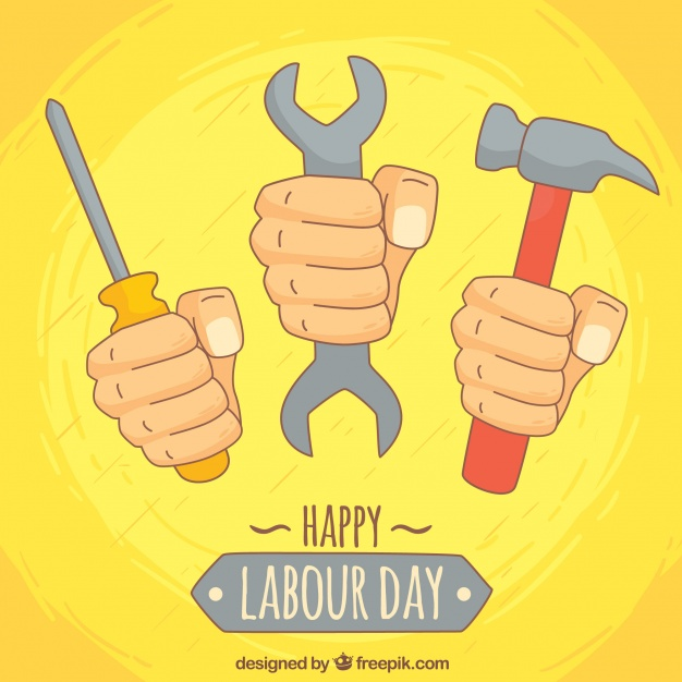 626x626 Yellow Hands Background With Drawing Tools Vector Free Download