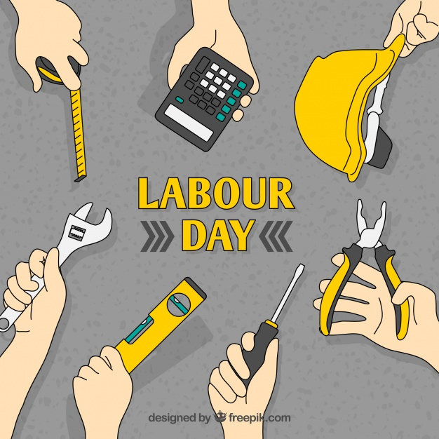 626x626 Labour Day Background Of Hands With Tools Vector Free Download
