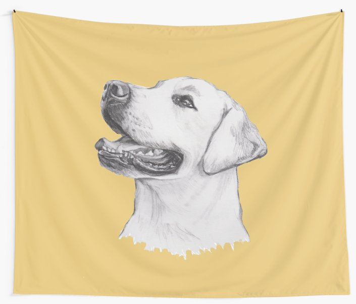 705x602 Labrador Retriever Dog Portrait Drawing Wall Tapestries By