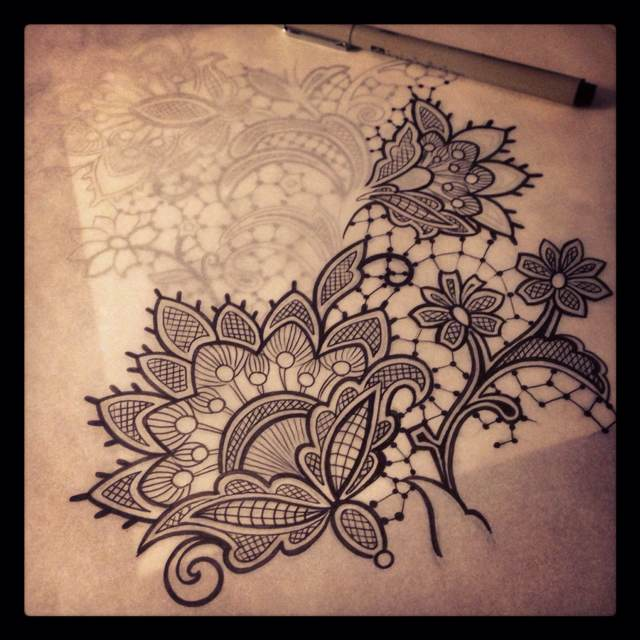 640x640 Lace Tattoo . Super Keen For Lace To Be The Background Of My