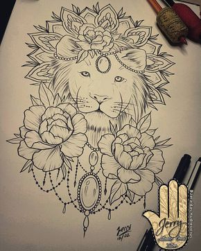 290x362 Lion Tattoo Idea, Peony Flowers, Mandala, Lace Drawing Creativo