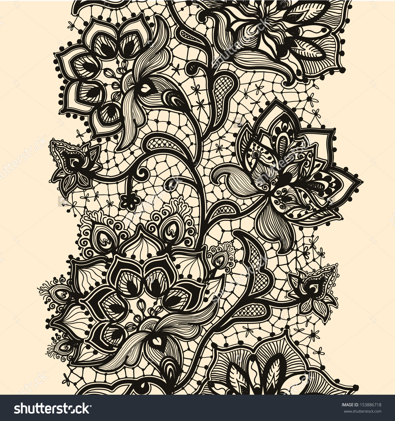 1500x1600 Abstract Lace Ribbon Seamless Pattern With Elements Flowers
