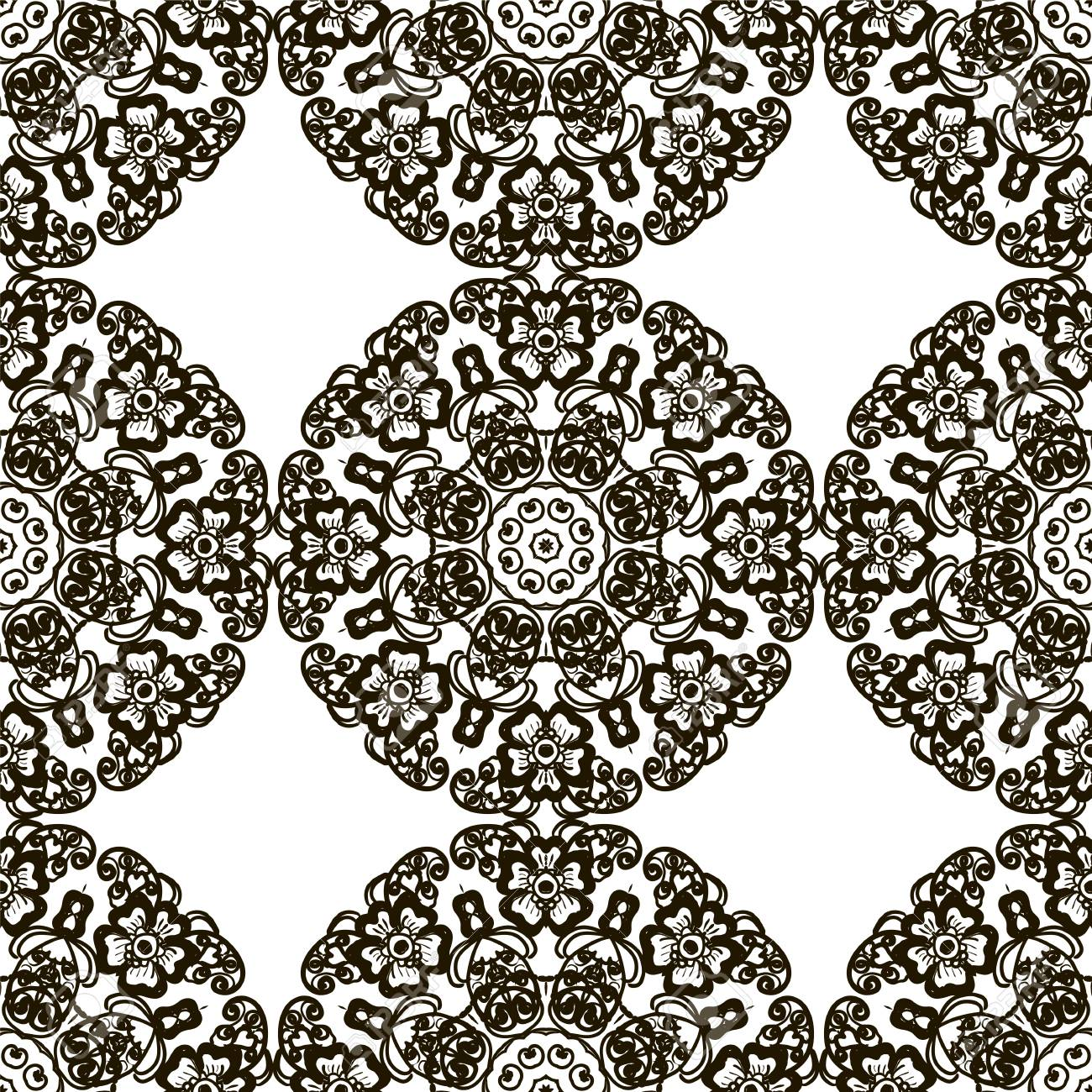 1300x1300 Round Henna Mehendi Drawing Mandalas Drawn Seamless Pattern