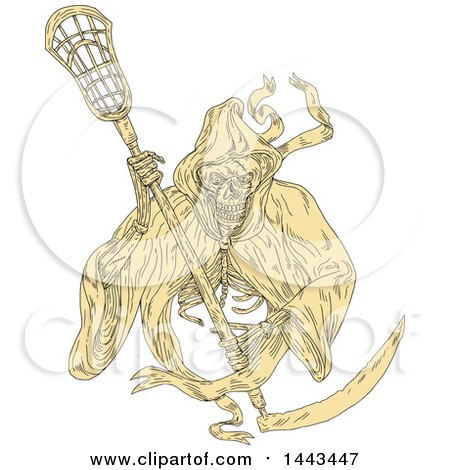 450x470 Clipart Of A Retro Grim Reaper Holding A Lacrosse Stick, In Brown