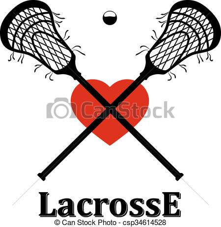 450x462 Crossed Lacrosse Stick, Ball And Heart. Vector Illustration Vector