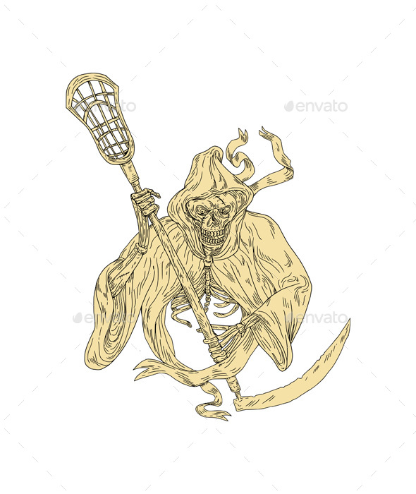 590x700 Grim Reaper Lacrosse Stick Drawing By Patrimonio Graphicriver