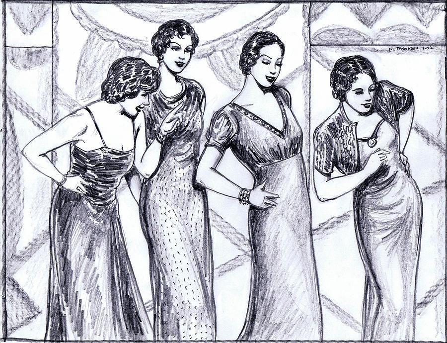900x690 Jazzy Ladies Bw Drawing By Mel Thompson