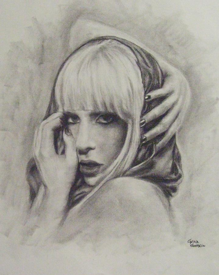 719x900 Lady Gaga Poker Face Drawing By Cynthia Campbell