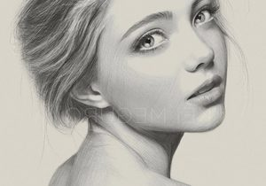 300x210 Pencil Sketch Of Lady Face