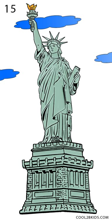 383x750 How To Draw The Statue Of Liberty (Step By Step Pictures) Cool2bkids
