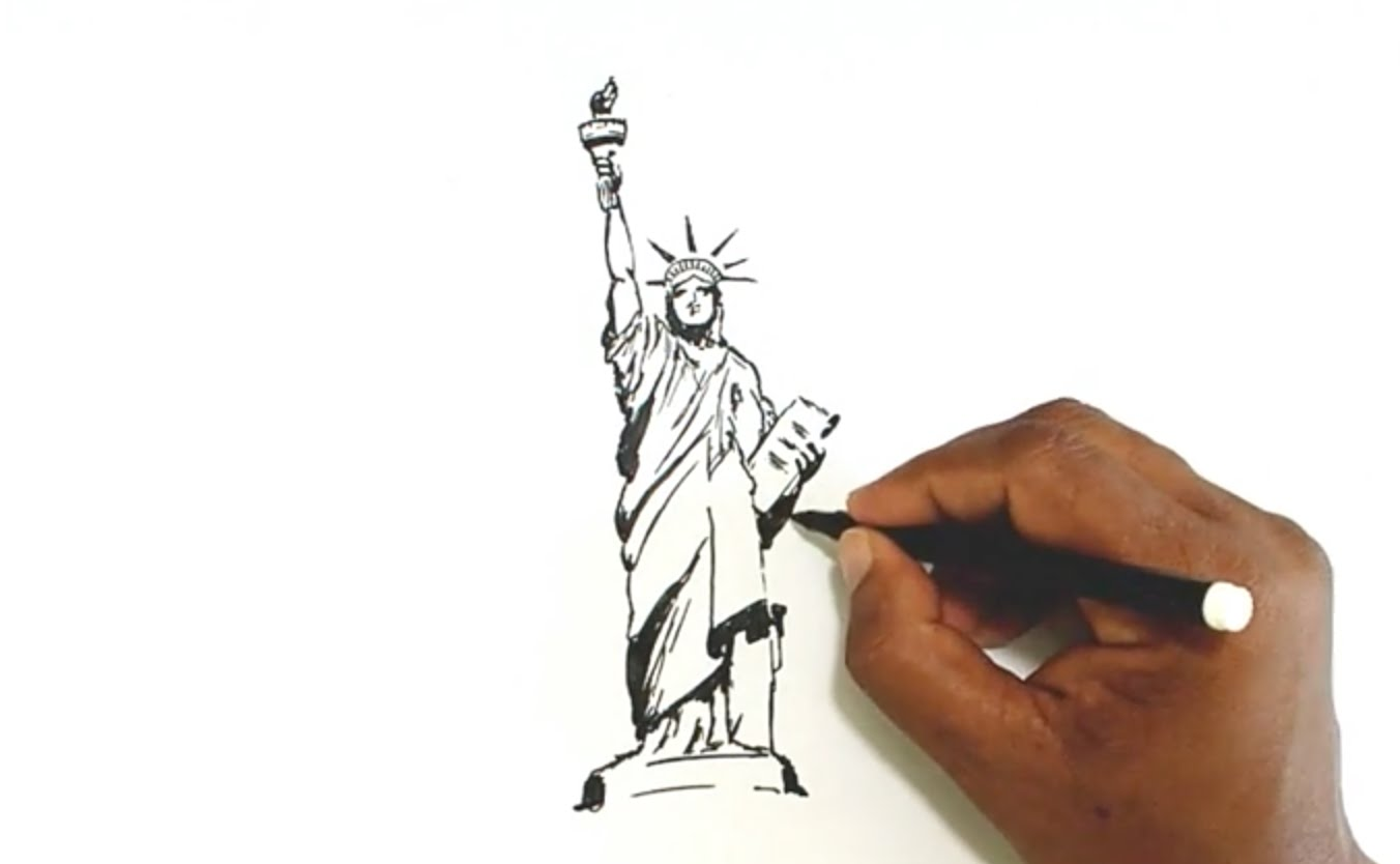 1352x834 How To Draw The Statue Of Liberty