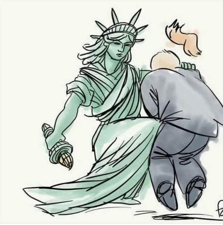 710x716 Lady Liberty Takes A Knee Politicalhumor
