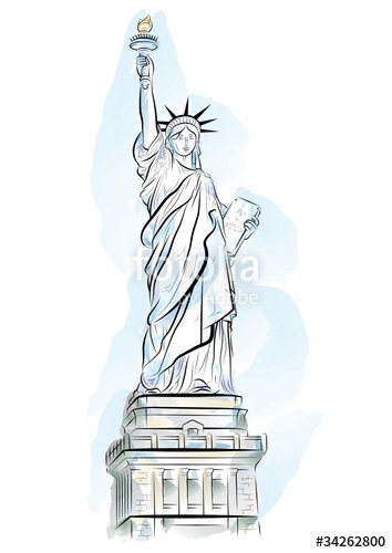 354x500 Vector Drawing Color Statue Of Liberty In New York, Usa Stock