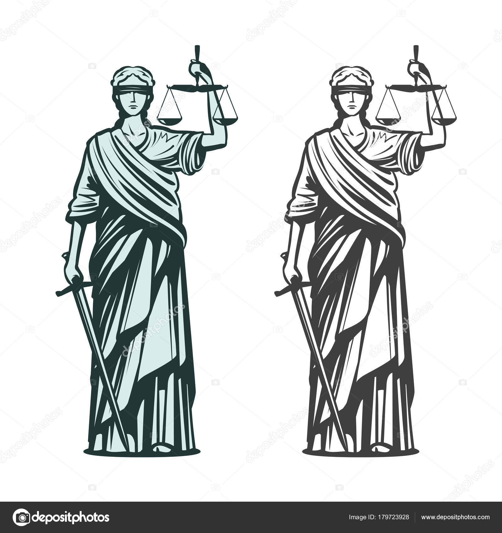 1600x1700 Judiciary Symbol. Lady Justice With Blindfold, Scales And Sword